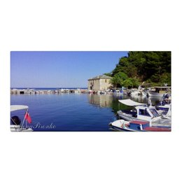 """Холст 30x60 """"Старый порт"""" - лето, море, греция, лодки"""