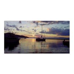 """Холст 30x60 """"Закат в гавани"""" - закат, море, яхта, греция"""
