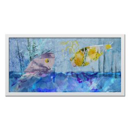 "Холст 30x60 ""Лесная фантазия"" - зима, пейзаж, кит, фантазия, картина акварелью"