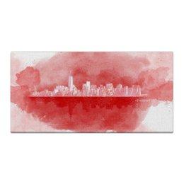 """Холст 30x60 """"Мегаполис"""" - белый, красный, город, розовый, акварель"""