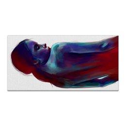 """Холст 30x60 """"Девушка"""" - белый, черный, голубой, красный, акварель"""