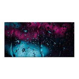 """Холст 30x60 """"Дождь"""" - город, дождь, огонёк, неоновый свет, стекающие капли"""