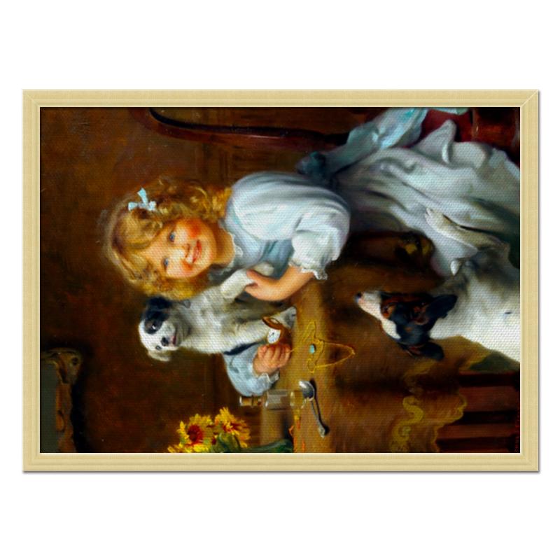 Холст 40x55 Printio Девочка с собакой и щенком цена