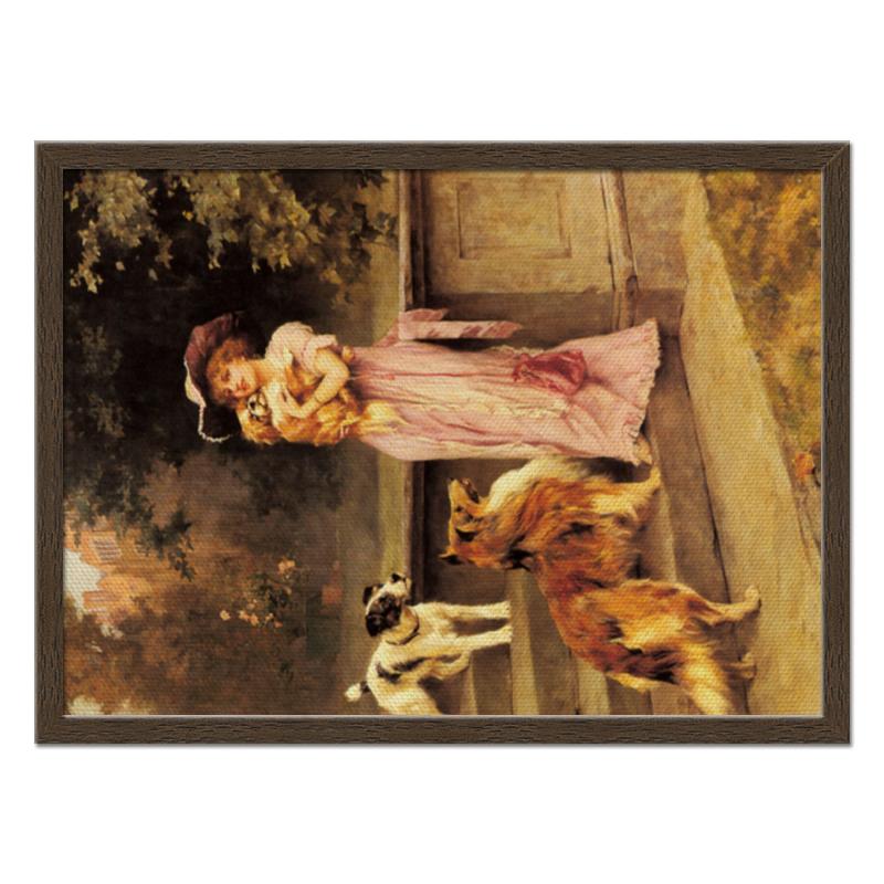 Холст 40x55 Printio Девушка с собаками darell осторожно охраняется собаками rp0014
