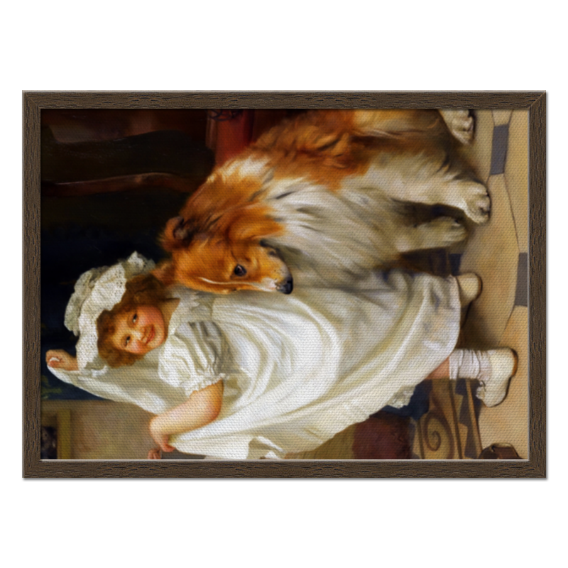 Холст 40x55 Printio Девочка с собакой