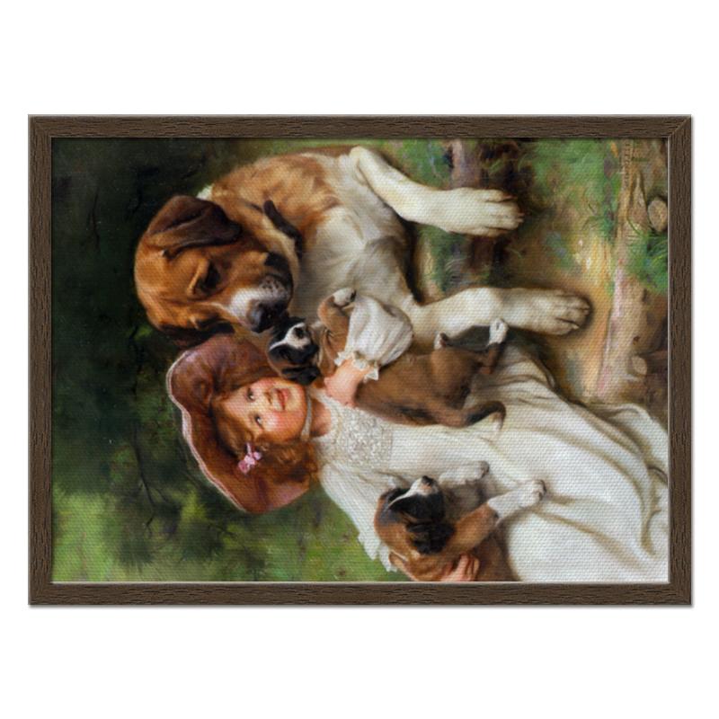 Холст 40x55 Printio Девочка, собака и щенята