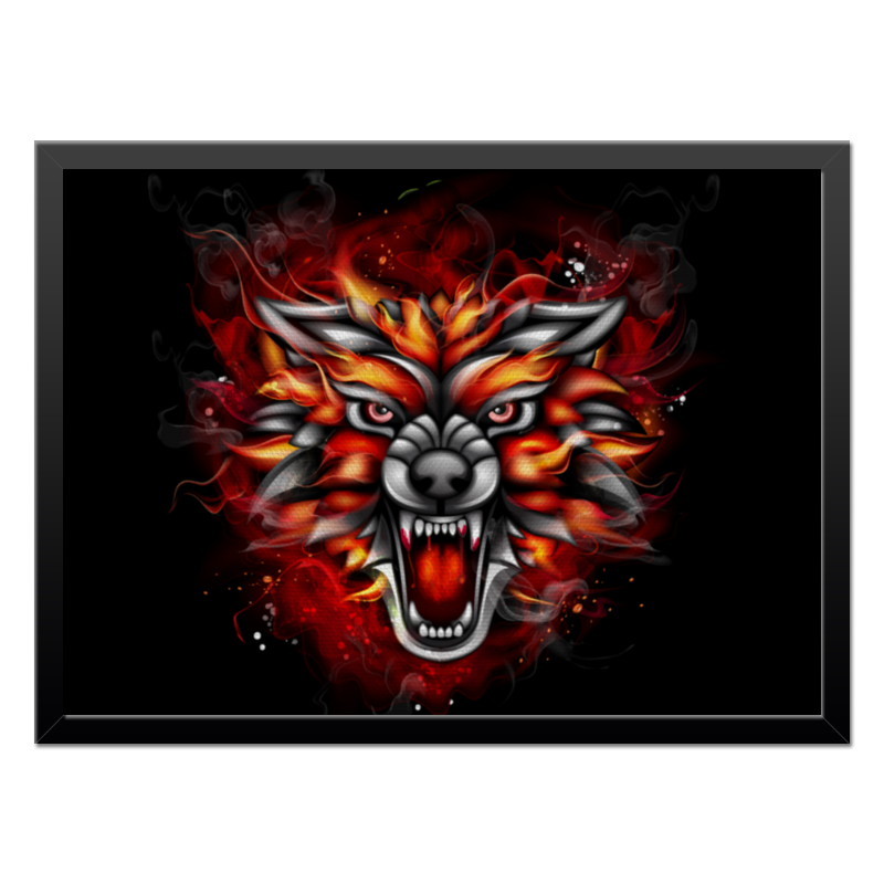 Холст 40x55 Printio Wolf & fire for 2017 new kindle fire 7 armor shockproof hybrid heavy duty protective stand cover case for amazon kindle fire 7 2017