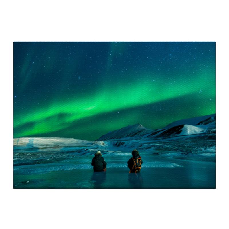 Холст 40x55 Printio Северное сияние гирлянда холодный цвет северное сияние