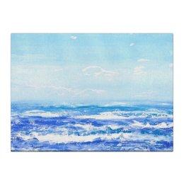 "Холст 40x55 ""У моря"" - голубой, синий, пляж, акварель, океан"