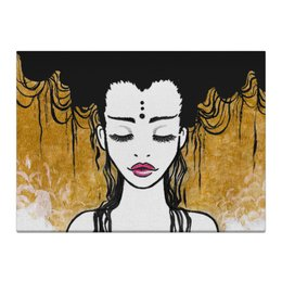 """Холст 40x55 """"Golden (vol.2)"""" - любовь, девушка, рисунок, золотой, релакс"""