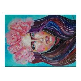 """Холст 40x55 """"Artwork Summer"""" - девушка, портрет, масло, живопись, цветы"""