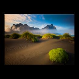 """Холст 40x55 """"красота пустыни"""" - облака, растения, пустыня, песок"""