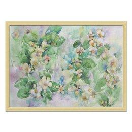"""Холст 40x55 """"Жасмин"""" - цветок, голубой, оригинальный, акварель, нежный"""