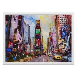 """Холст 40x55 """"Стильный Нью-Йорк"""" - нью-йорк, оригинальные подарки, картина в интерьер, городской пейзаж, необычная картина"""