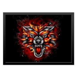 """Холст 40x55 """"Wolf & Fire"""" - огонь, волк, fire, дым, wolf"""
