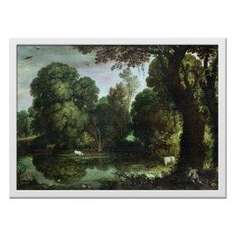 """Холст 40x55 """"Картины"""" - искусство, художник, пауль бриль, охота на уток"""