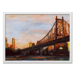 """Холст 40x55 """"У входа в Манхэттен"""" - манхэттен, городской пейзаж, необычная картина, купить картину на холсте, города картины"""