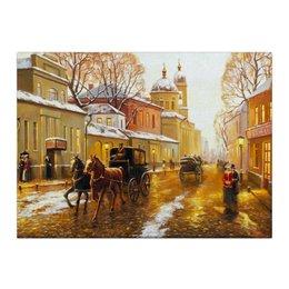 "Холст 40x55 ""Город"" - улица, лошади, ресторан, конный экипаж"