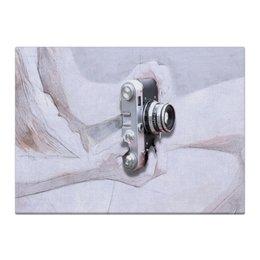 "Холст 40x55 ""Фотоаппарат"" - белый, серый, акварель, черный, монтаж"