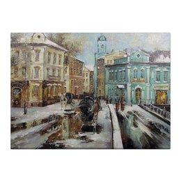 """Холст 40x55 """"Старый город"""" - зима, город, снег, snow"""