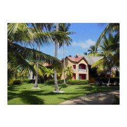 """Холст 40x55 """"""""Доминикана. Тропический сад"""""""" - лето, путешествия, travel, пальмы, доминикана"""