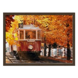 "Холст 40x55 ""Пражская осень"" - осень, города, транспорт, трамвай"