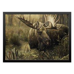 """Холст 40x55 """"Лось в лесу"""" - животные, рисунок, лес, лось, чащоба"""