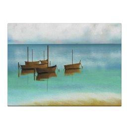 "Холст 40x55 ""Ранее утро"" - белый, море, голубой, синий, лодки"