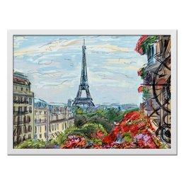 """Холст 40x55 """"Эйфелева башня"""" - графика, франция, париж, эйфелева башня"""