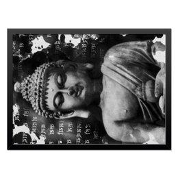 """Холст 40x55 """"Будда (Письмена)"""" - философия, религия, буквы, будда, буддизм"""