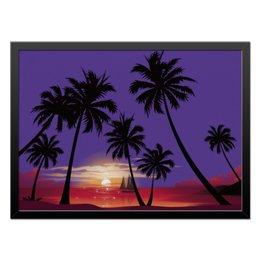"Холст 40x55 ""Острова в океане"" - море, закат, яхта, острова, пальмы"