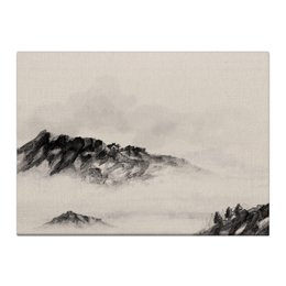 """Холст 40x55 """"Домик в горах"""" - серый, белый, черный, природа, пейзаж"""