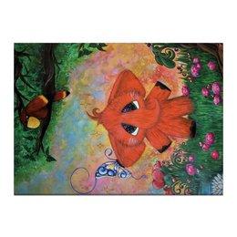 """Холст 40x55 """"Слоник"""" - бабочка, цветы, слон, попугай, сказка"""
