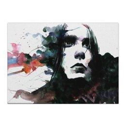 """Холст 40x55 """"Образ"""" - белый, черный, фиолетовый, портрет, синий"""
