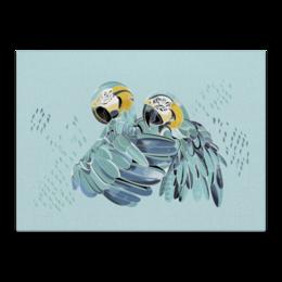 """Холст 40x55 """"Влюбленные попугайчики"""" - любовь, птицы, нежность"""
