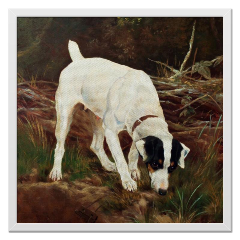 Холст 50x50 Printio 2018 год желтой земляной собаки