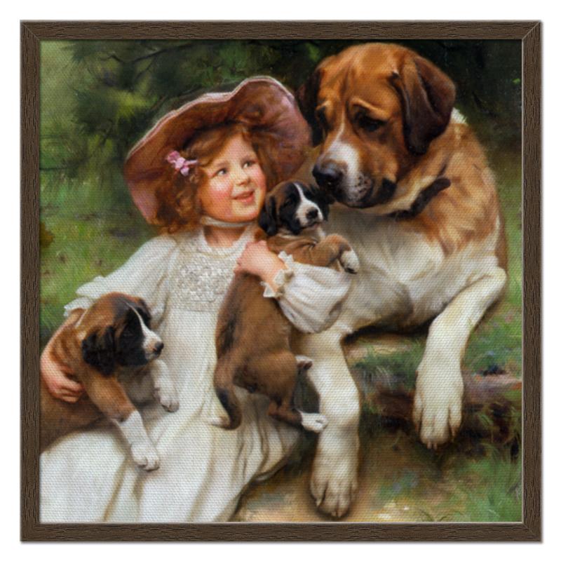 Холст 50x50 Printio Девочка, собака и щенята
