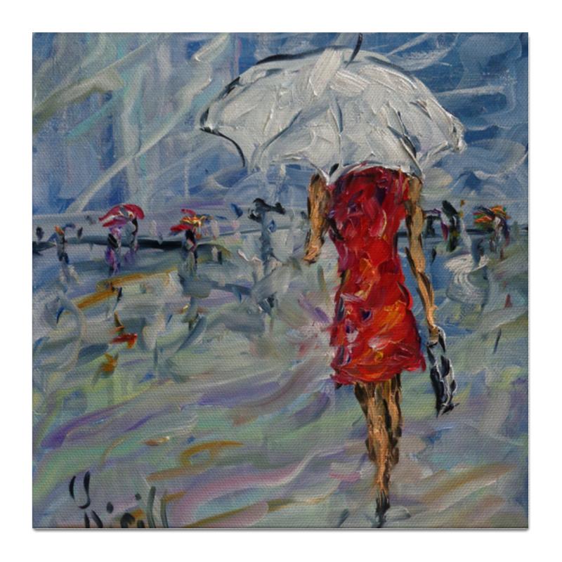 Холст 50x50 Printio Девушка в красном куплю еврозаборы в красном луче