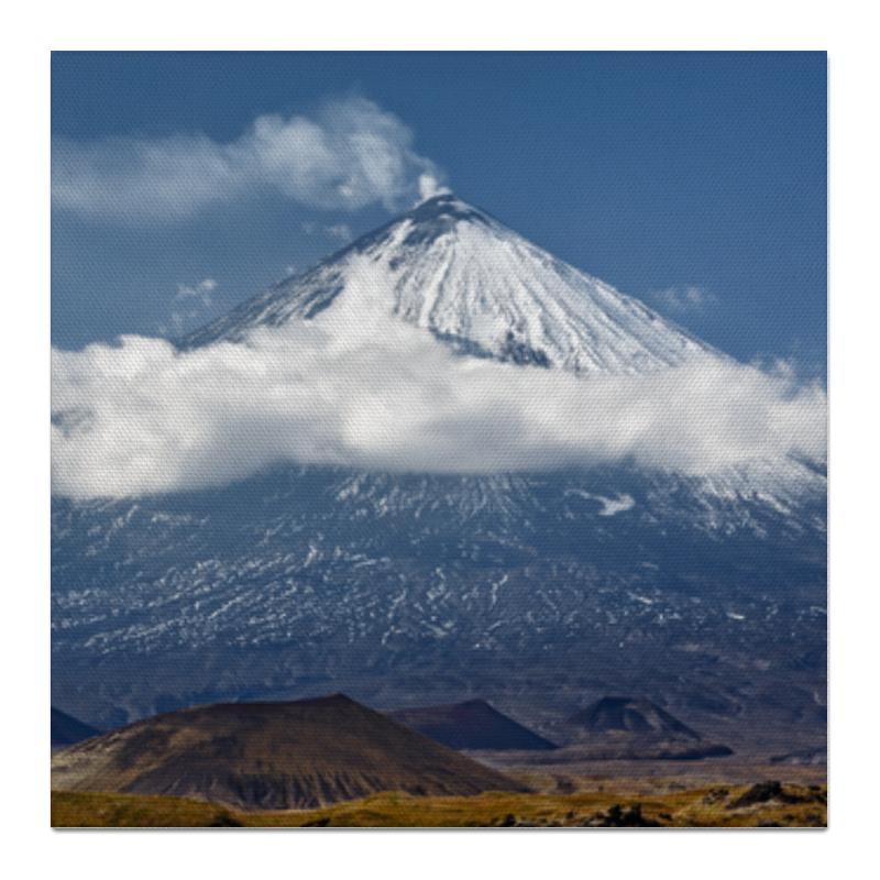 Холст 50x50 Printio Камчатка, осенний пейзаж, извержение вулкана