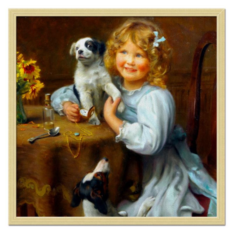Холст 50x50 Printio Девочка с собакой и щенком