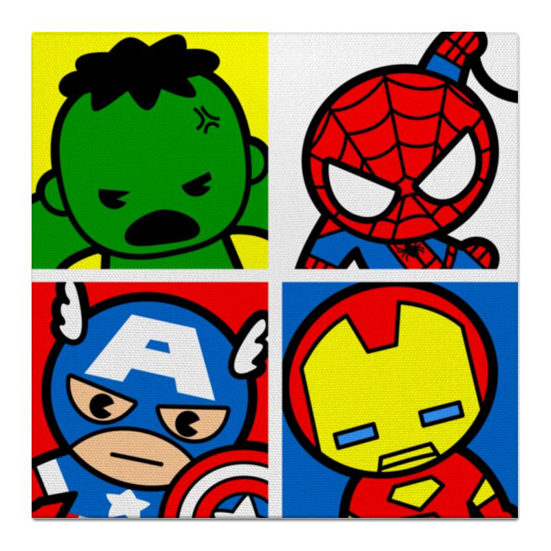 Холст 50x50 Printio Мстители капитан америка удивительный человек паук 2 железный человек перчатки мультфильм детей игрушки передатчик