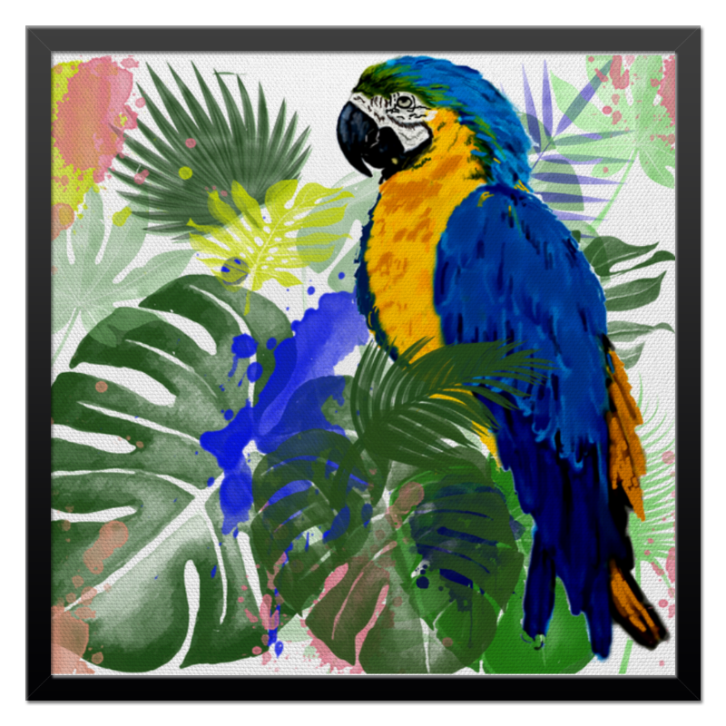 Холст 50x50 Printio Попугай ара в тропиках