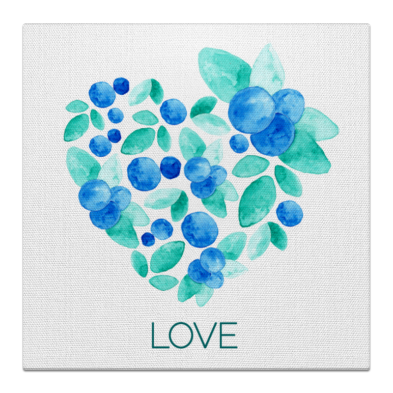 Холст 50x50 Printio Акварель сердце из голубики лонгслив printio акварель сердце из голубики