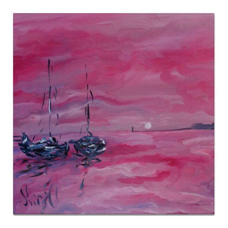 Холст 50x50 Printio Розовый закат фотошторы сирень розовый закат