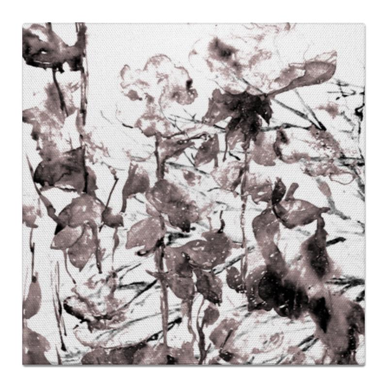 Холст 50x50 Printio Вечерние цветы рисуем цветы акварелью
