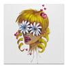 """Холст 50x50 """"Без ума от цветов"""" - любовь, девушка, цветы, сердца, блондинка"""