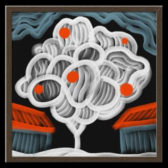 """Холст 50x50 """"Ночная яблоня"""" - арт, живопись, яблоки, яблоня, дизайнерские"""