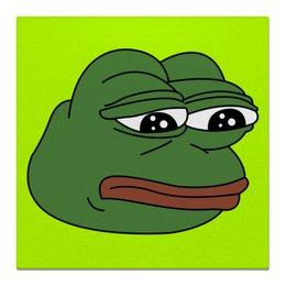 """Холст 50x50 """"Грустная лягушка"""" - мем, meme, грустная лягушка, sad frog, pepe frog"""