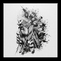 """Холст 50x50 """"индеец"""" - прикольно, арт, стиль, рисунок, оригинально, индеец, креативно, авторский рисунок, авторский принт"""