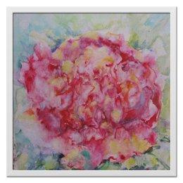 """Холст 50x50 """"Пион. Вестник лета"""" - цветок, пионы, живопись, акварелью, импроессионизм"""